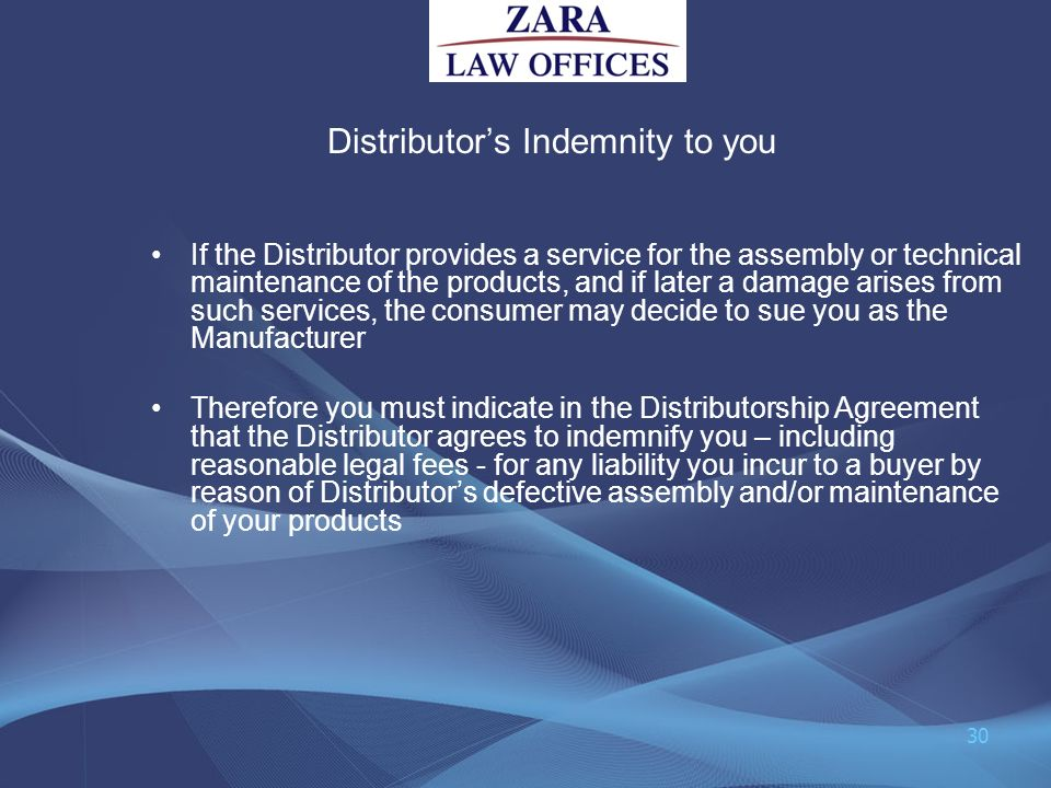 Distributor's Indemnity to you