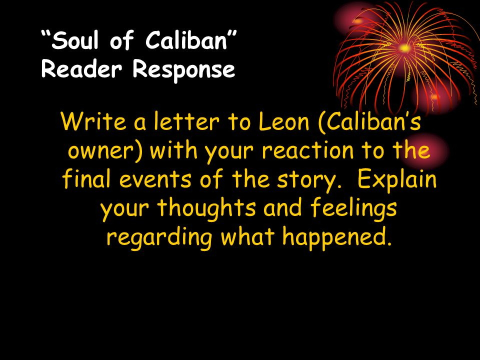 Soul of Caliban Reader Response