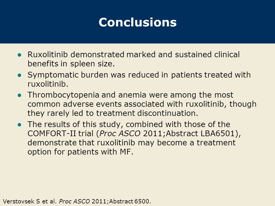 Conclusions Ruxolitinib demonstrated marked and sustained clinical benefits in spleen size.