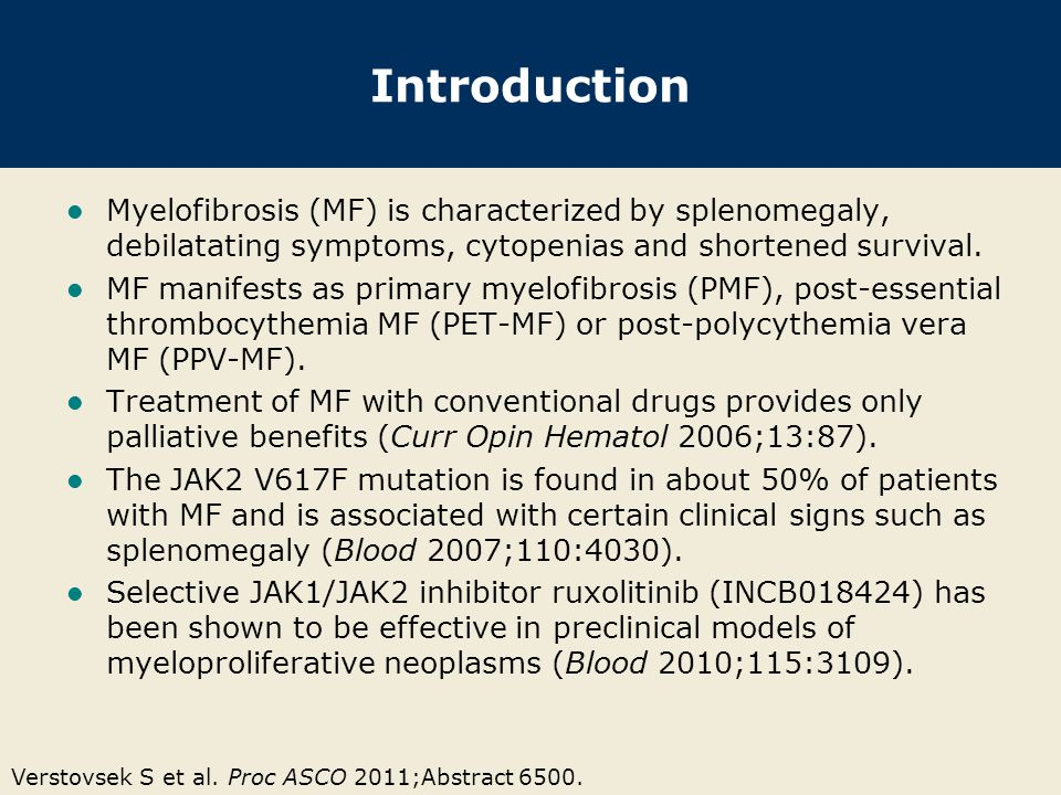 Introduction Myelofibrosis (MF) is characterized by splenomegaly, debilatating symptoms, cytopenias and shortened survival.