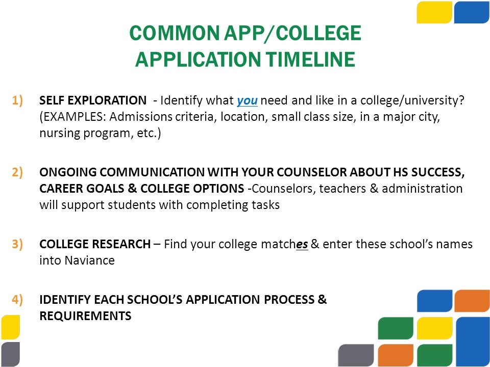 COMMON APP/COLLEGE APPLICATION TIMELINE