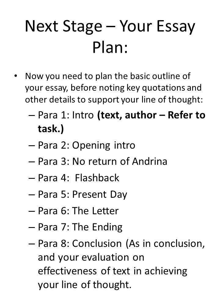 Next Stage – Your Essay Plan: