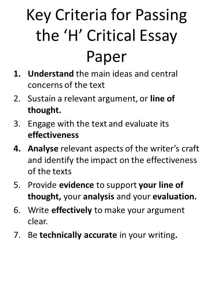 Key Criteria for Passing the 'H' Critical Essay Paper