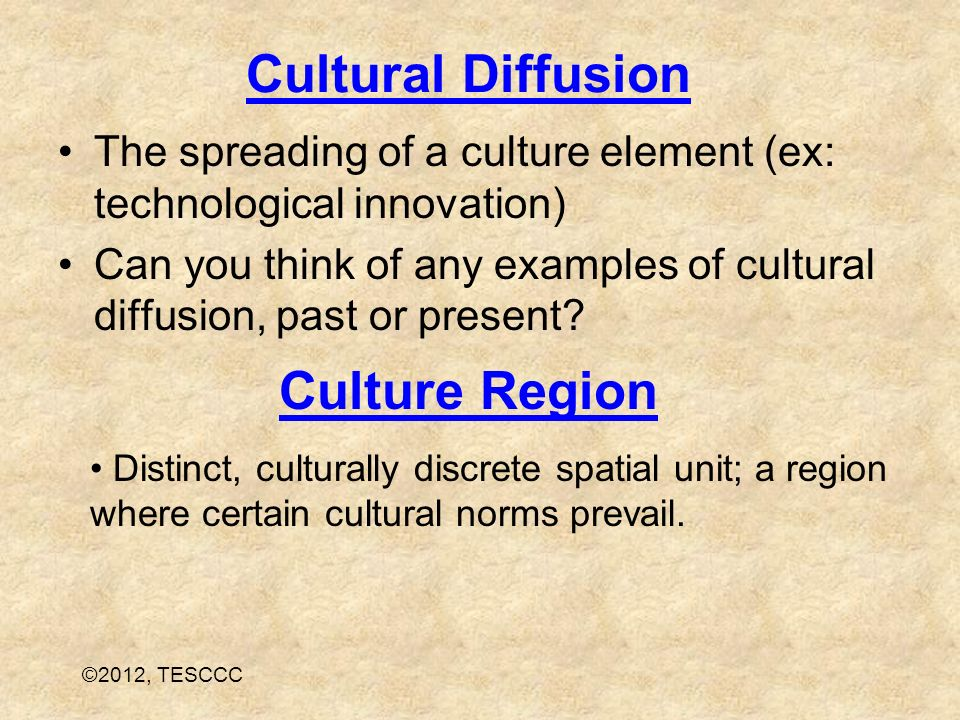 an example of cultural diffusion
