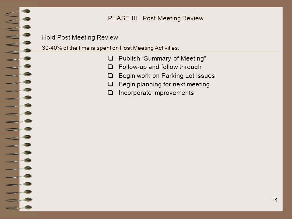 PHASE III Post Meeting Review