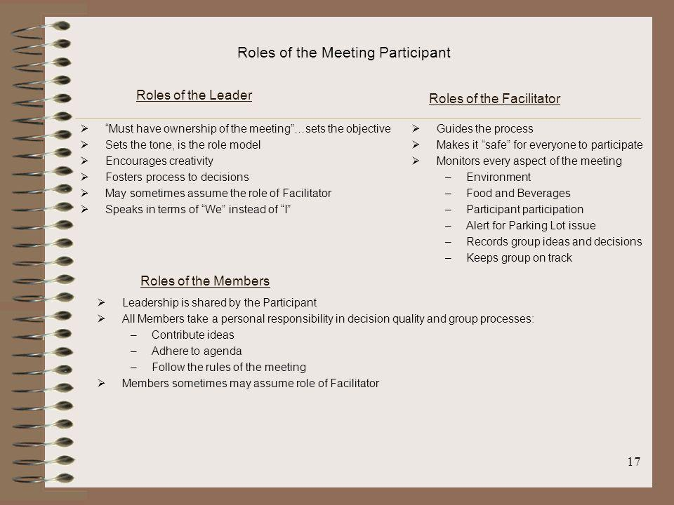 Roles of the Facilitator