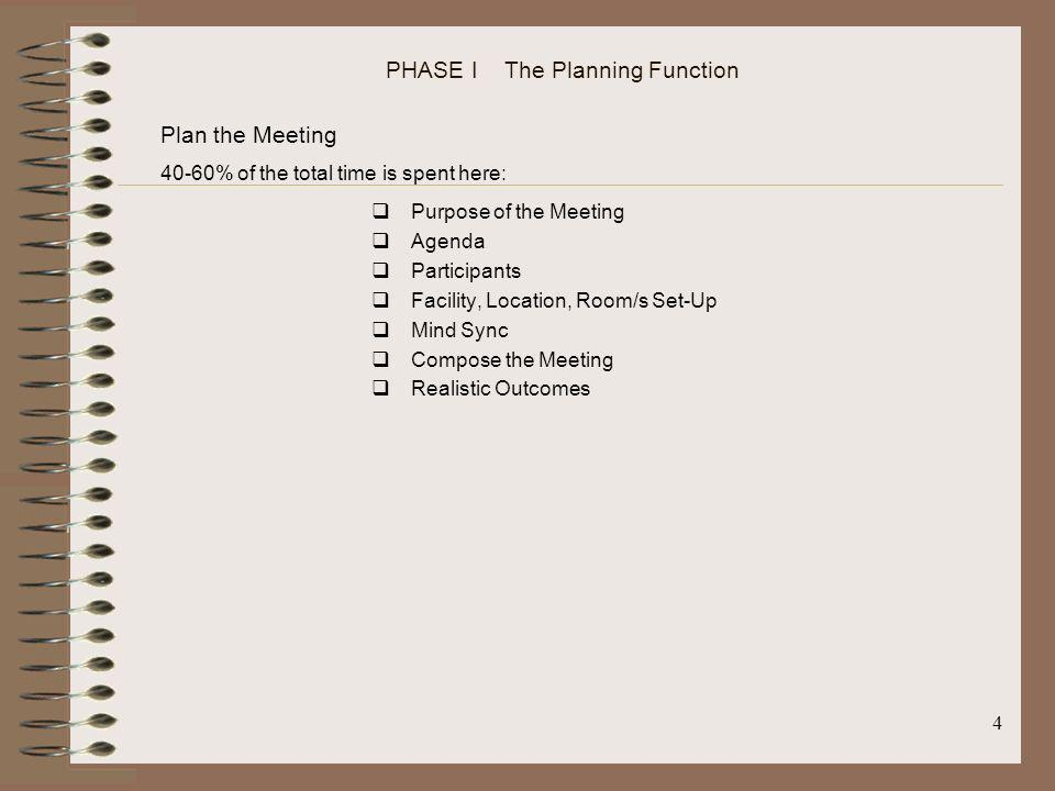 PHASE I The Planning Function