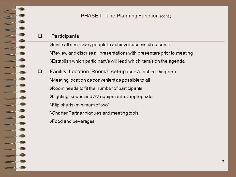 PHASE I -The Planning Function (cont.)