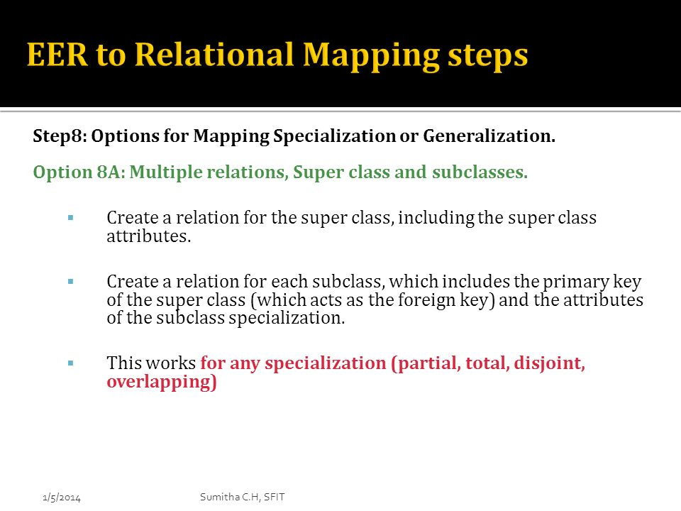 EER to Relational Mapping steps