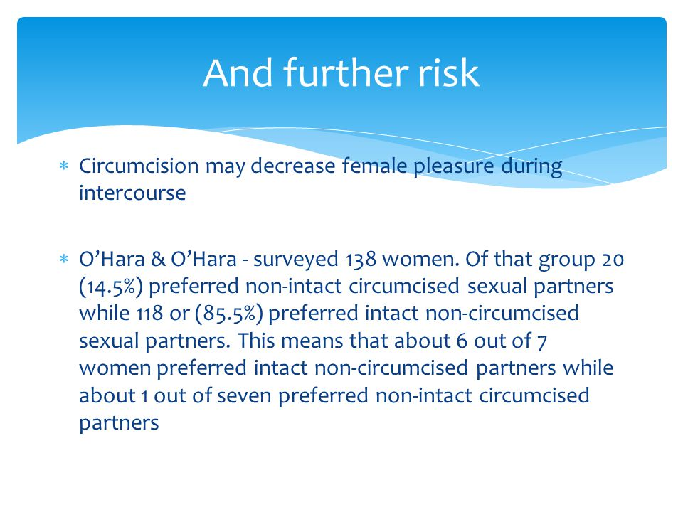 And further risk Circumcision may decrease female pleasure during intercourse.