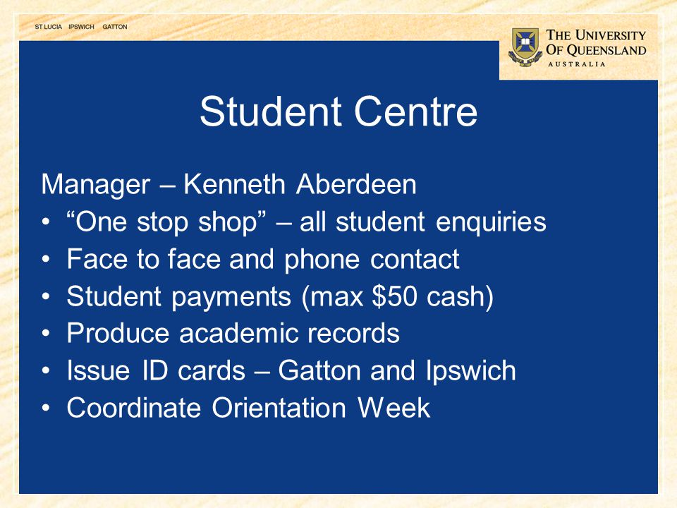 Student Centre Manager – Kenneth Aberdeen