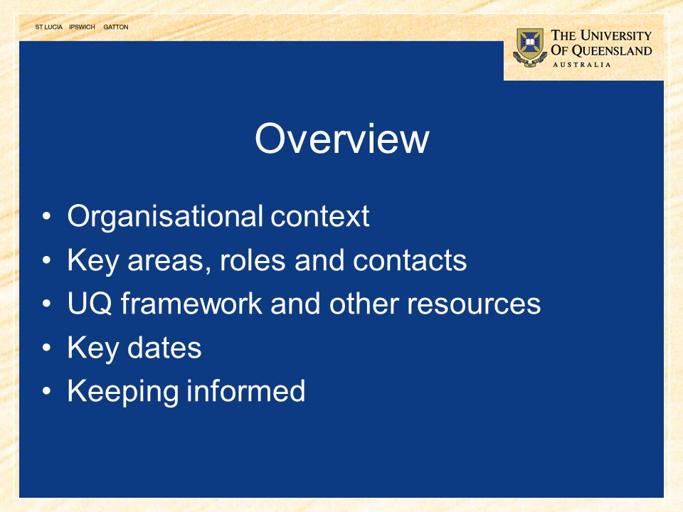 Overview Organisational context Key areas, roles and contacts