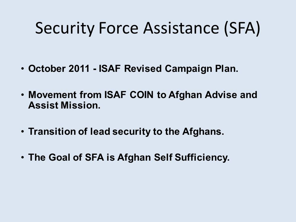 Security Force Assistance (SFA)