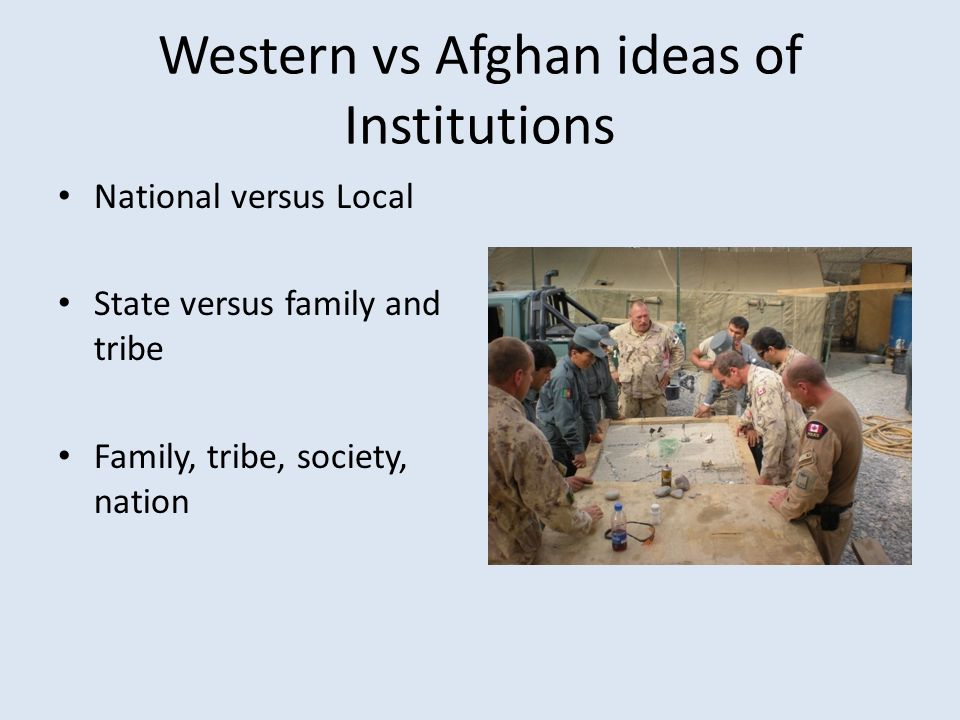 Western vs Afghan ideas of Institutions