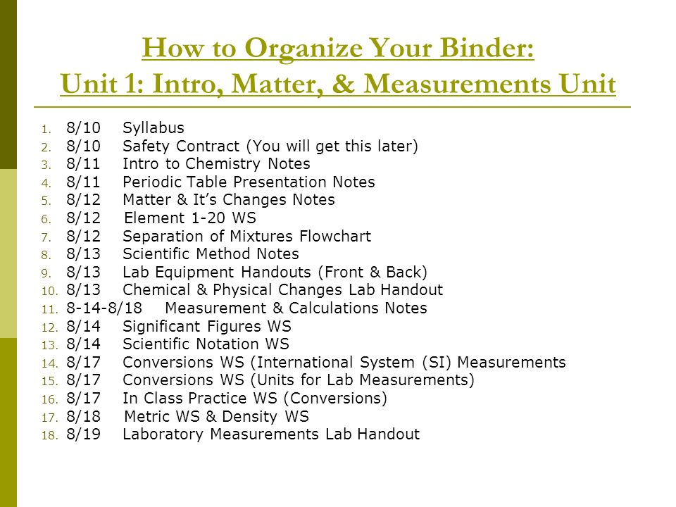 How to Organize Your Binder: Unit 1: Intro, Matter, & Measurements Unit