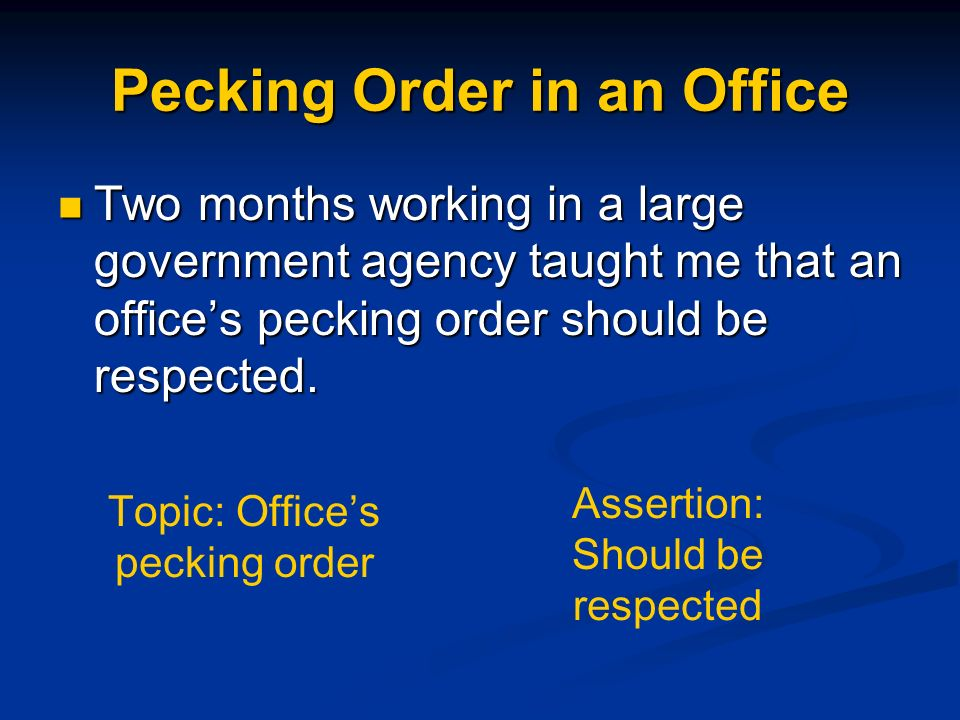Pecking Order in an Office