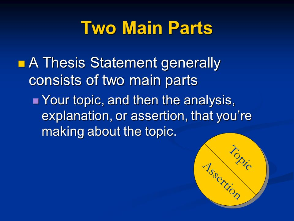Two Main Parts A Thesis Statement generally consists of two main parts
