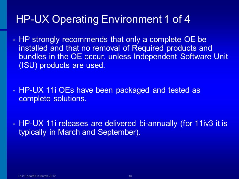 HP-UX Operating Environment 1 of 4