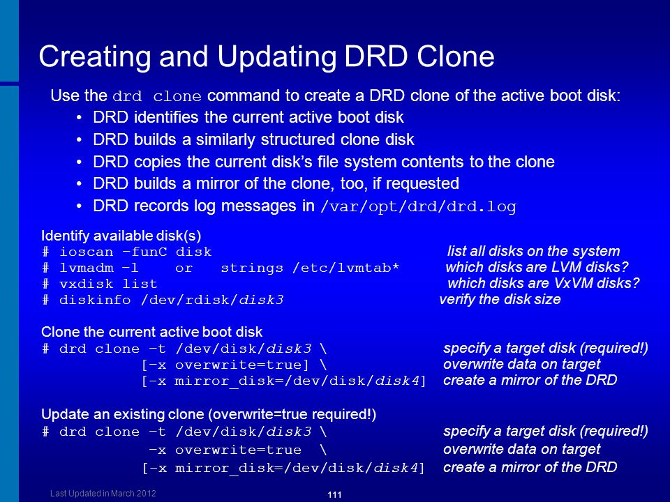 Creating and Updating DRD Clone