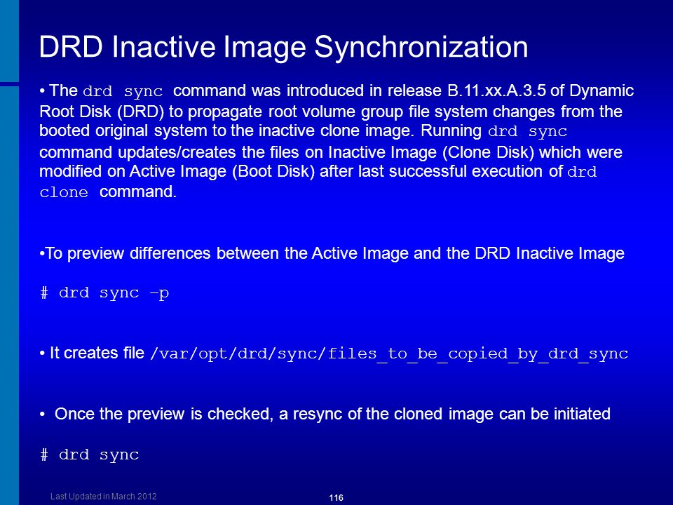 DRD Inactive Image Synchronization