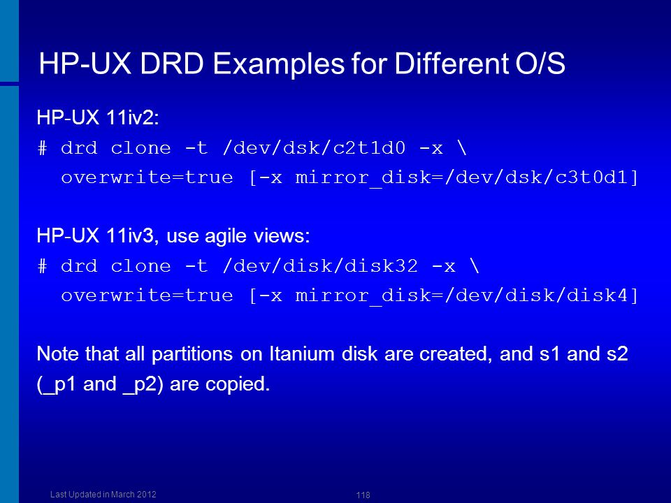HP-UX DRD Examples for Different O/S