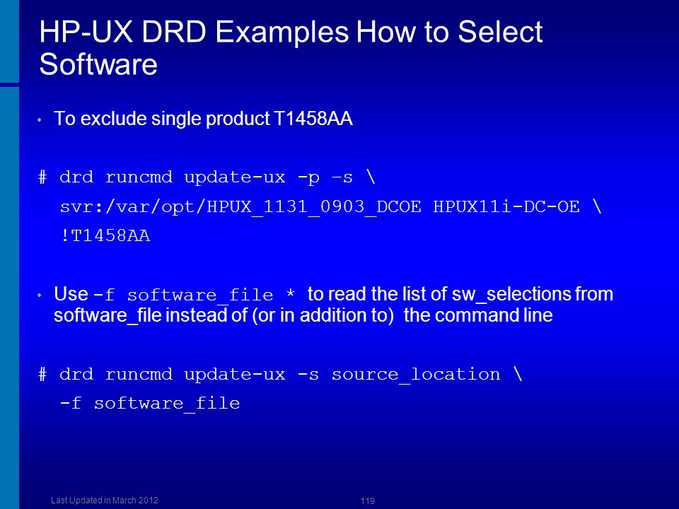 HP-UX DRD Examples How to Select Software