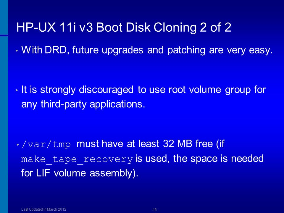 HP-UX 11i v3 Boot Disk Cloning 2 of 2