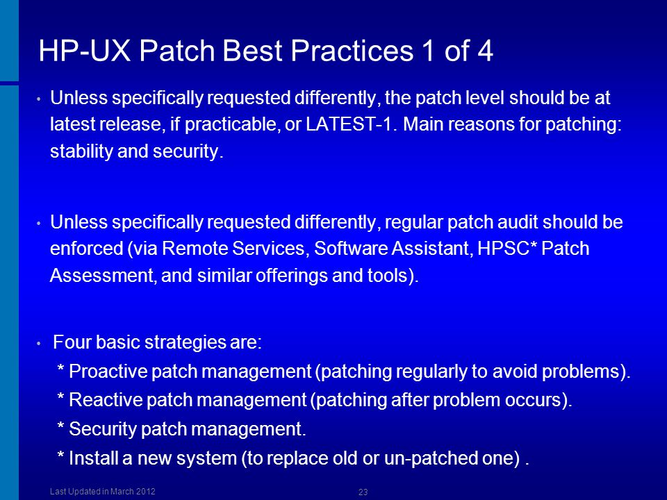 HP-UX Patch Best Practices 1 of 4