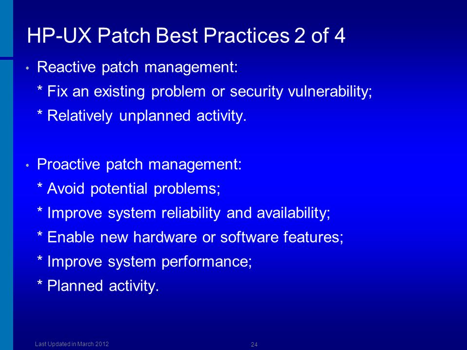 HP-UX Patch Best Practices 2 of 4