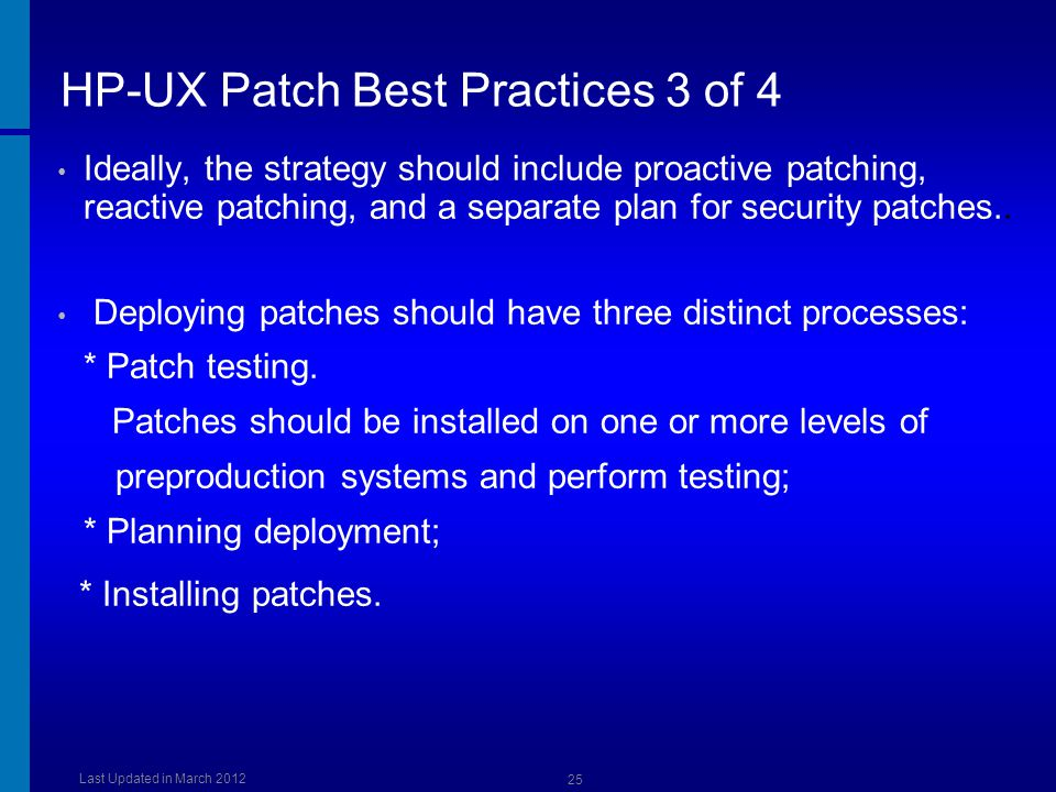 HP-UX Patch Best Practices 3 of 4