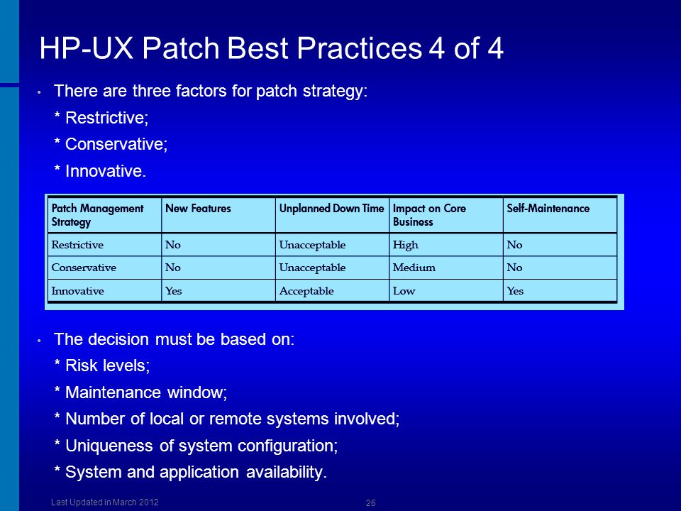 HP-UX Patch Best Practices 4 of 4