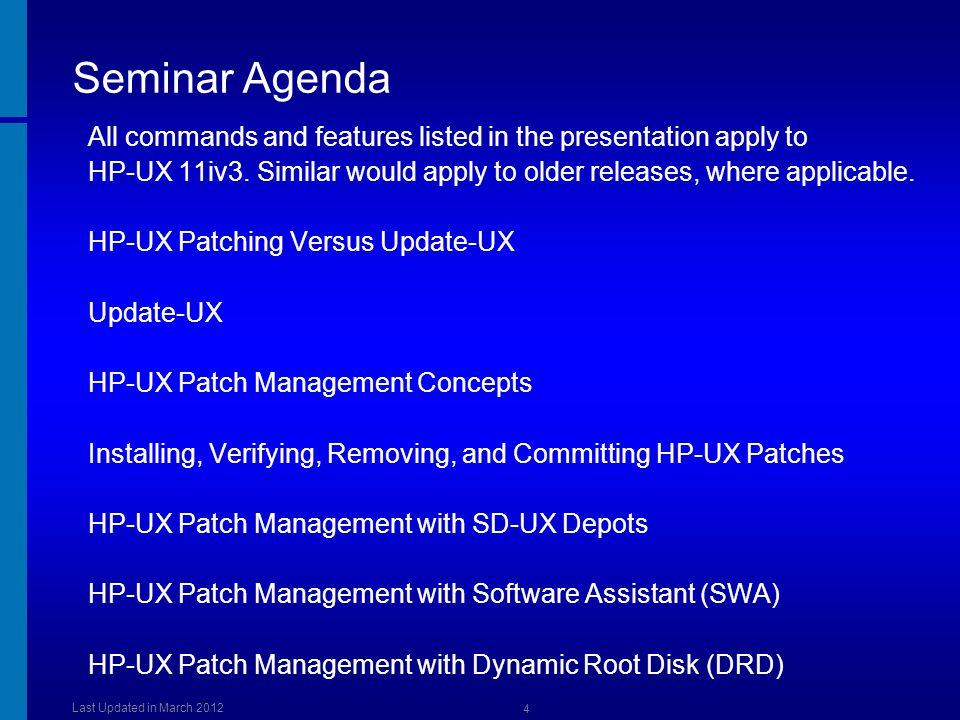 Seminar Agenda Dusan Baljevic. All commands and features listed in the presentation apply to.