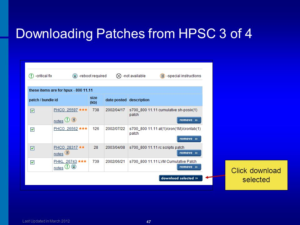 Downloading Patches from HPSC 3 of 4