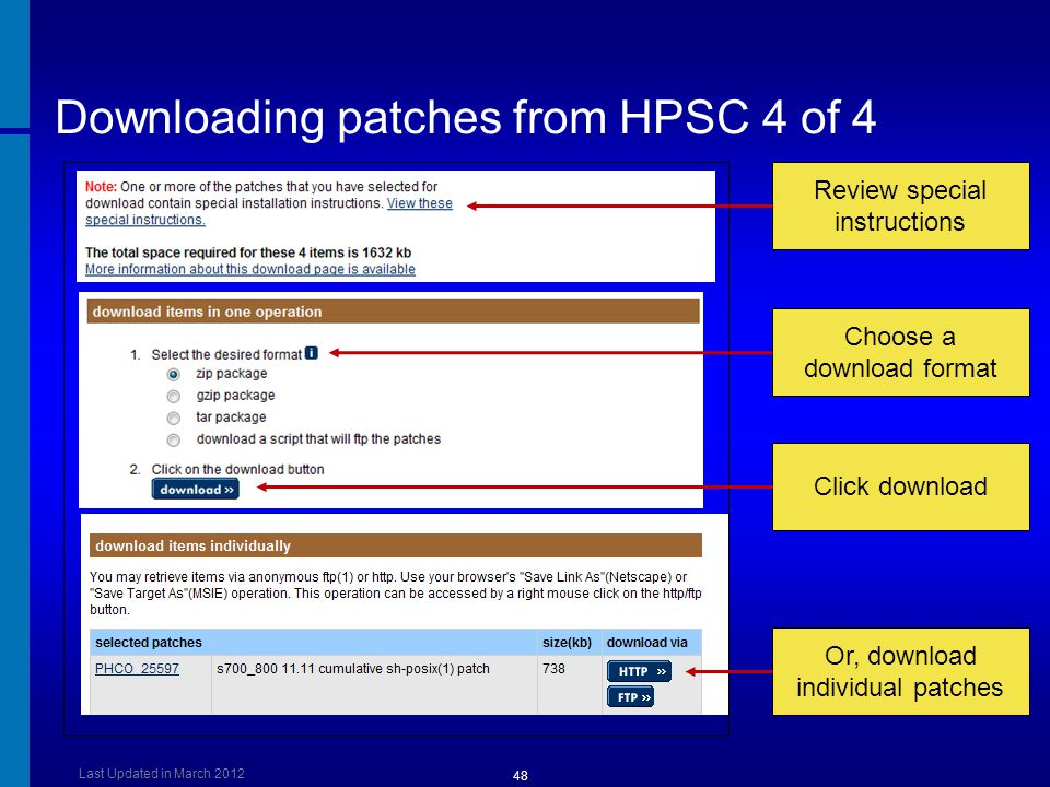 Downloading patches from HPSC 4 of 4