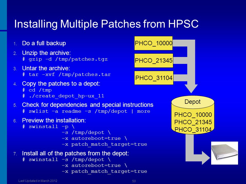 Installing Multiple Patches from HPSC