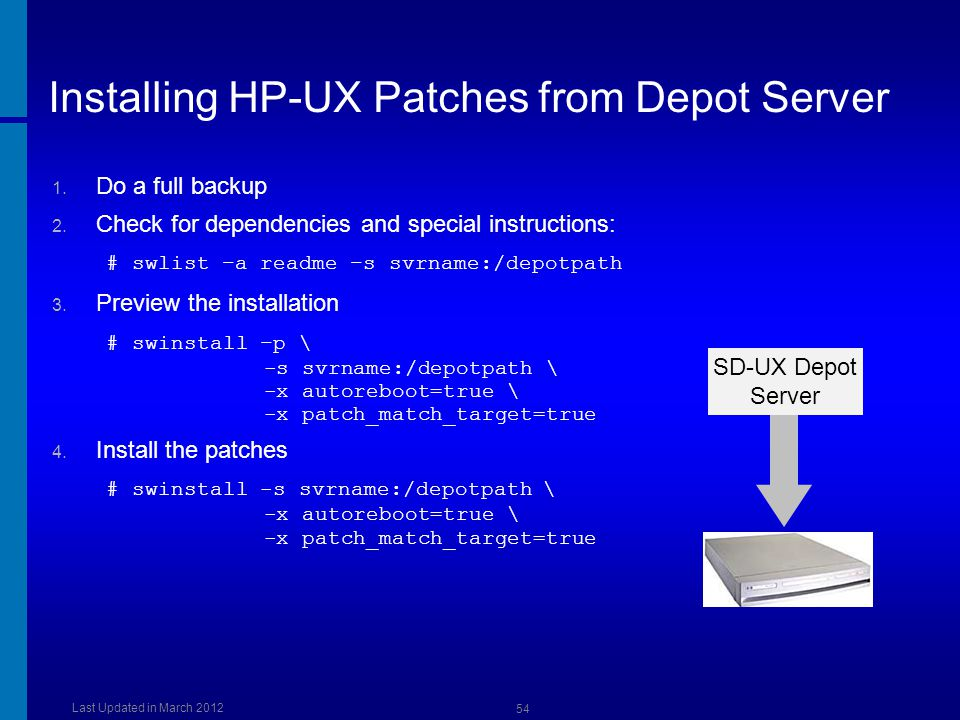 Installing HP-UX Patches from Depot Server