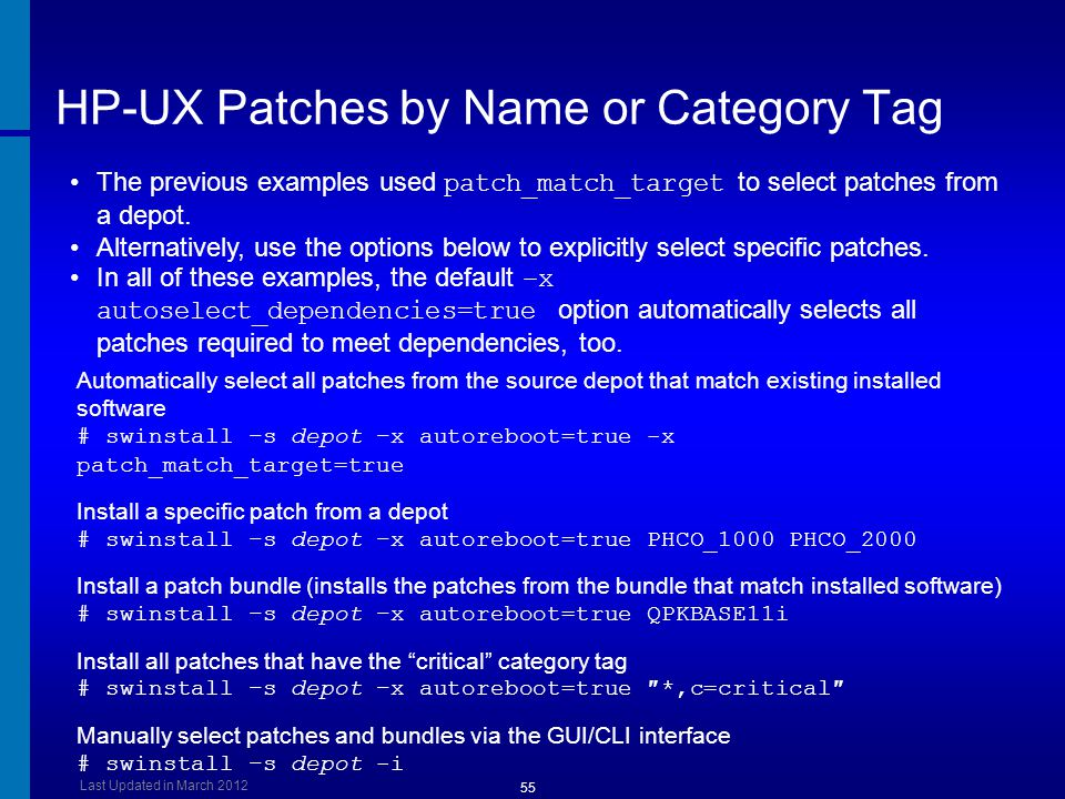 HP-UX Patches by Name or Category Tag