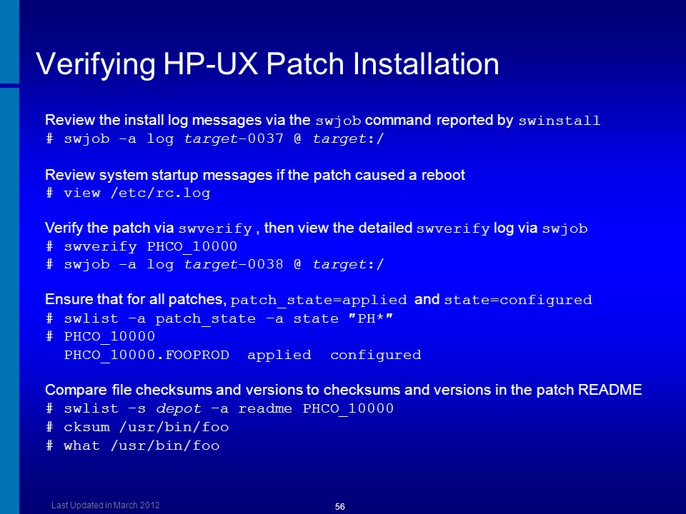 Verifying HP-UX Patch Installation