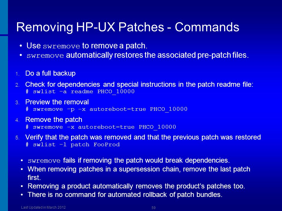 Removing HP-UX Patches - Commands