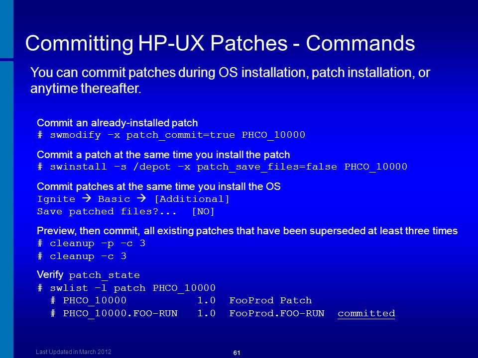 Committing HP-UX Patches - Commands