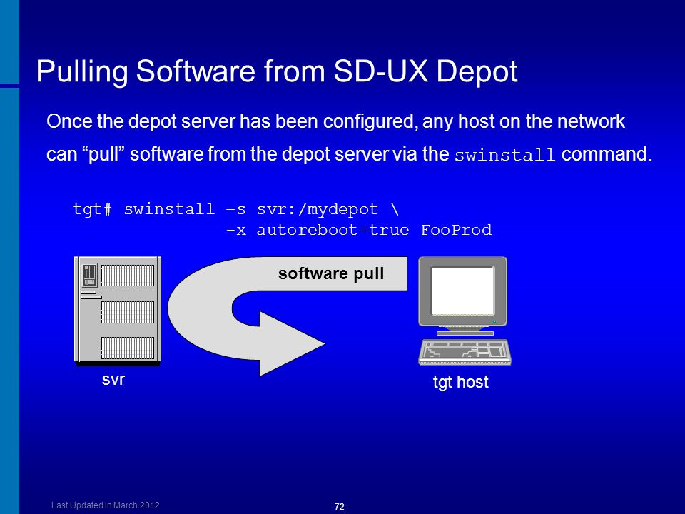 Pulling Software from SD-UX Depot