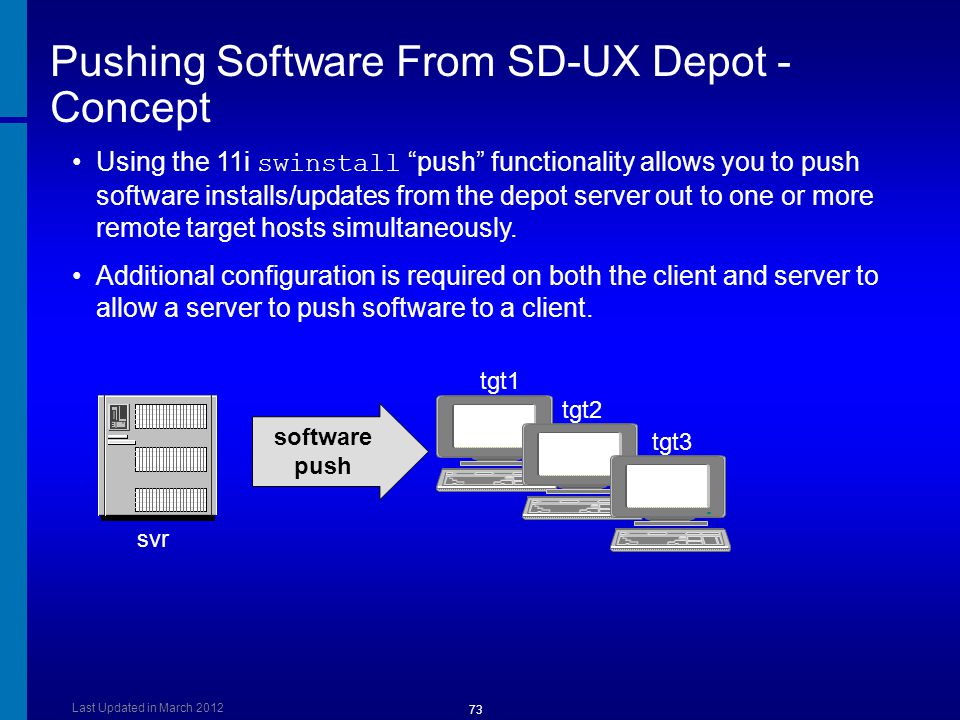 Pushing Software From SD-UX Depot - Concept
