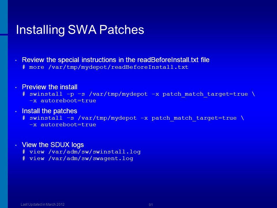 Installing SWA Patches