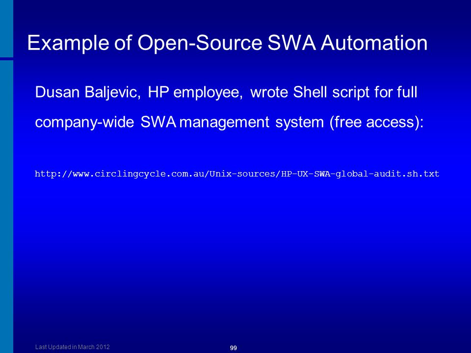 Example of Open-Source SWA Automation