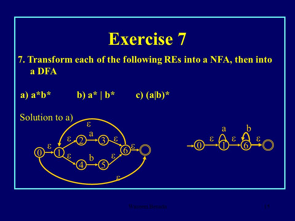 Exercise 7 7. Transform each of the following REs into a NFA, then into a DFA. a) a*b* b) a* | b* c) (a|b)*