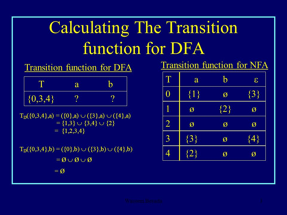 Calculating The Transition function for DFA