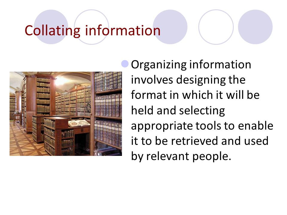 Collating information