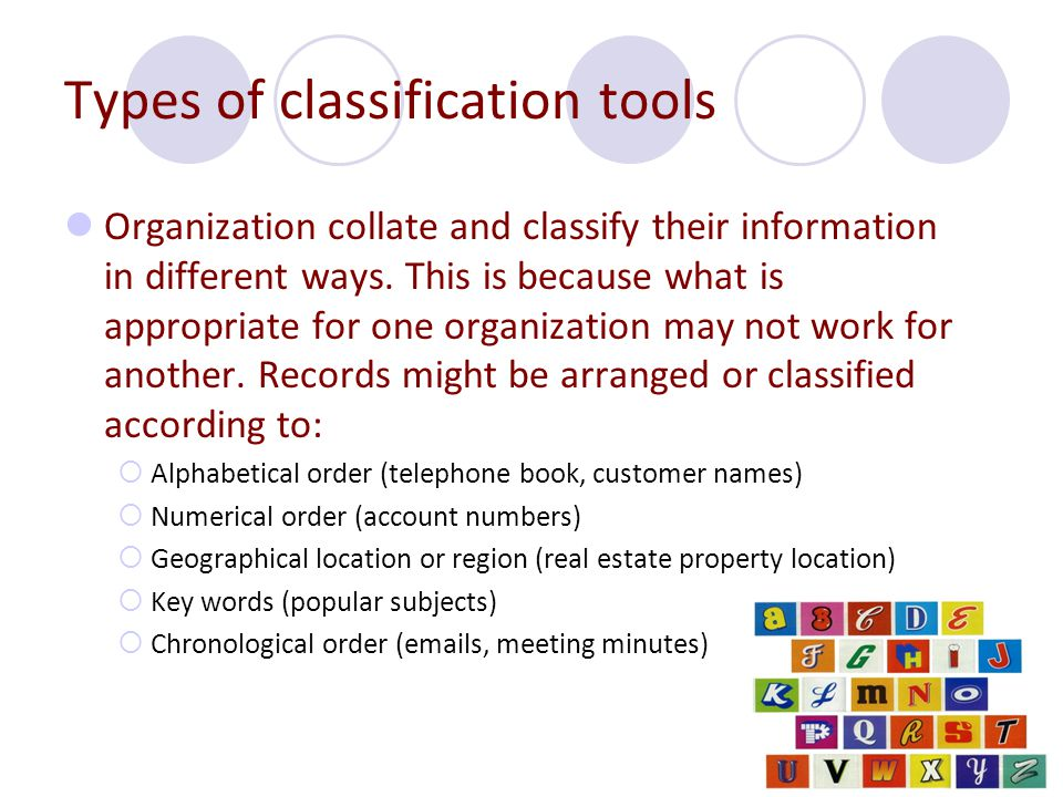 Types of classification tools