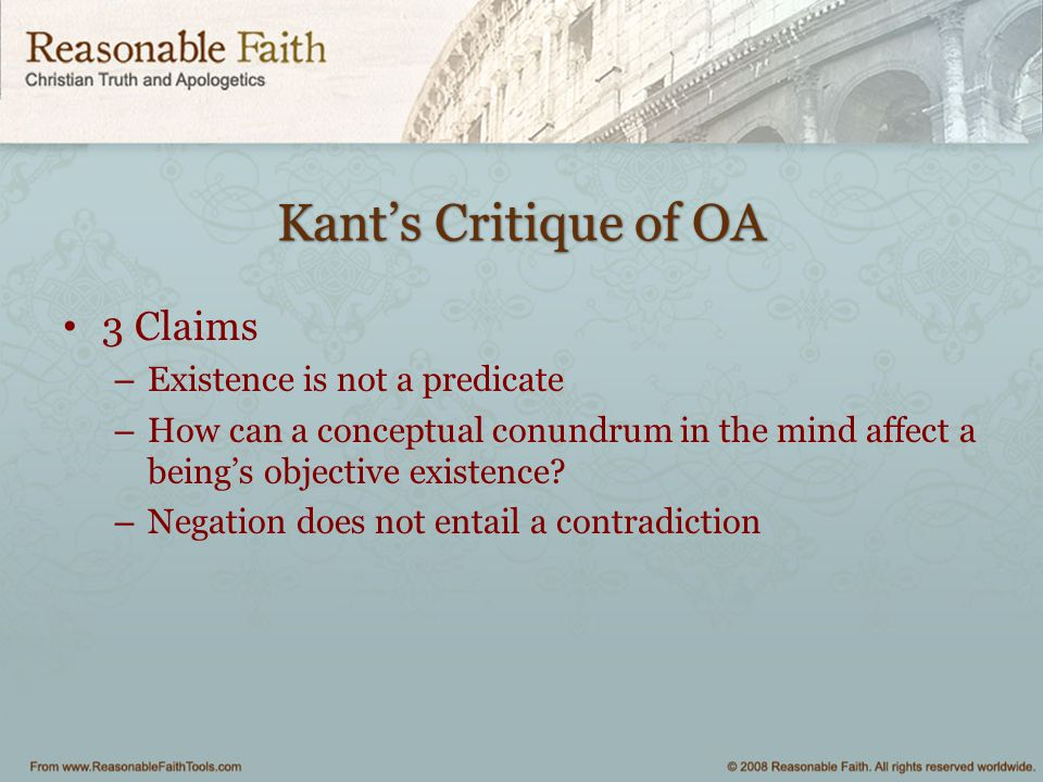Kant's Critique of OA 3 Claims Existence is not a predicate