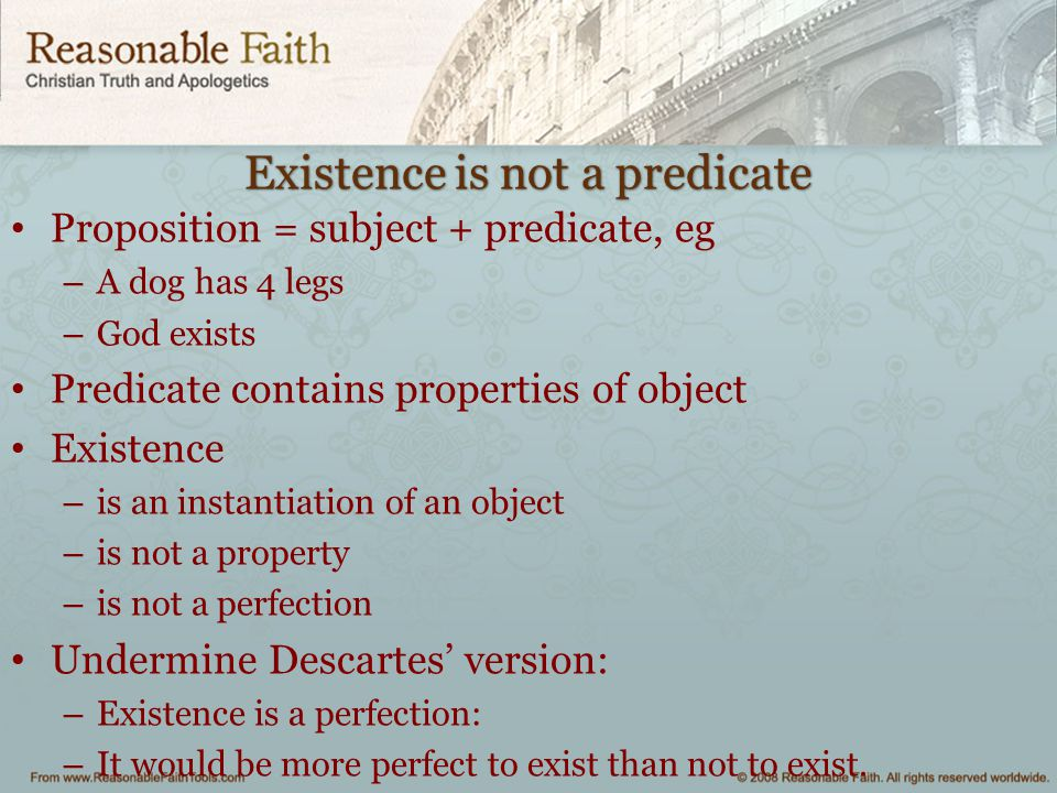Existence is not a predicate